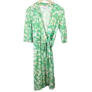 Lilly Pulitzer Silk Green Floral Wrap Dress